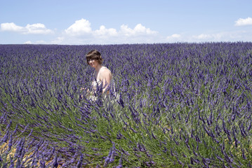 Woman posing in lavender field