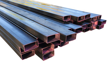 Stack of steel metal pipes isolated