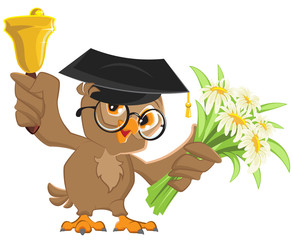 Owl teacher rings the bell and holding flowers