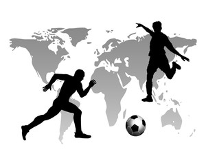 Footballers on the world map background.vector