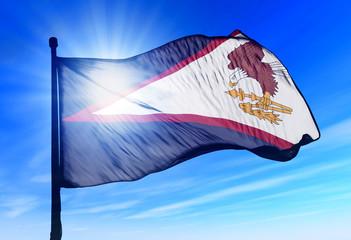 American Samoa flag waving on the wind
