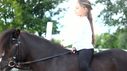 beautiful little girl sitting on a pony's mane stroking
