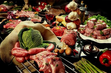 carne cruda mista composizione
