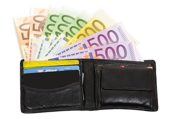 Loaded wallet with European banknotes, credit cards