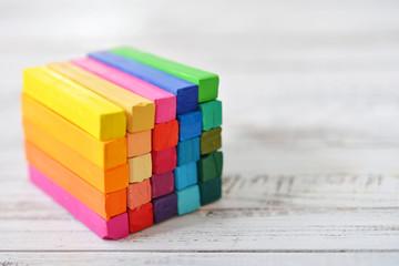 Multicolored artist's pastels