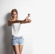 pretty girl making selfie