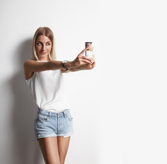 pretty girl making selfie