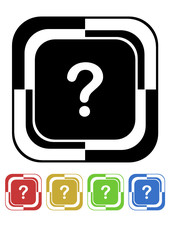 Question button mosaic retro colors square