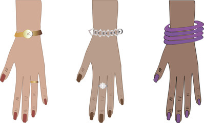 woman hands with accessories