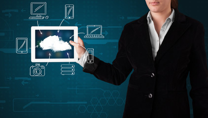 Woman showing hand drawn cloud computing