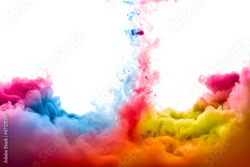 Leinwanddruck Bild Rainbow of Acrylic Ink in Water. Color Explosion