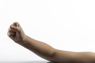 Young hands makes rock-paper-scissors