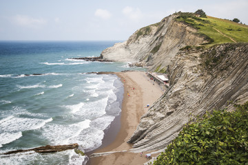 Beach in coast basque near San Telmo hermitage, Zumaia, Spain