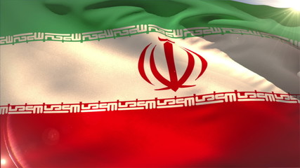 Large iran national flag waving
