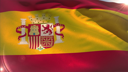 Large spain national flag waving