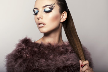 beautiful model with fantastic eyes makeup