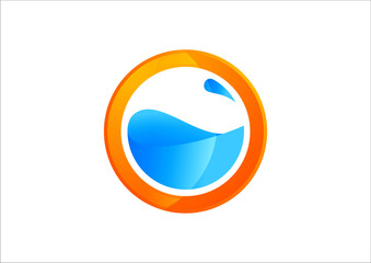 circle sun splash design elements water icon
