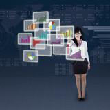 Businesswoman choosing one business chart