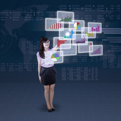 Businesswoman and futuristic interface