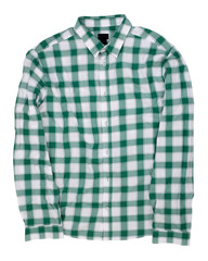Man's green white cotton plaid shirt