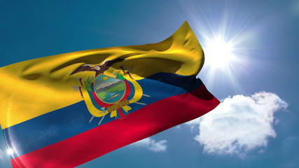 Ecuador national flag blowing in the breeze