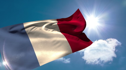 France national flag blowing in the breeze