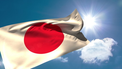 Japan national flag blowing in the breeze