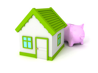 Piggy Bank with green roof house on white
