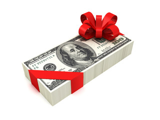 hundred dollar pack tied red ribbon with bow