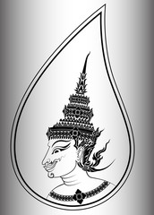 Deva or angel head of Thai art
