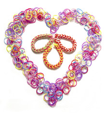 Heart Shaped Rubber bands used for making jewellery