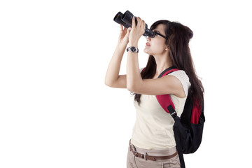 College student using binoculars