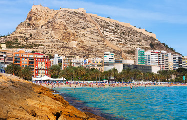 View of Alicante from Mediterranean  beach