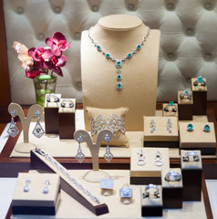 silver jewelry at showcase