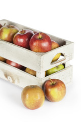 Wooden box of fresh apples