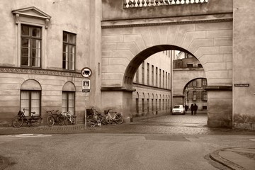 Copenhagen Old Town. Sepia tone filtered image.