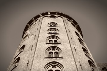 Copenhagen Round Tower. Sepia tone filtered image.