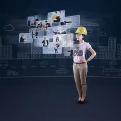 Engineer leader using futuristic interface