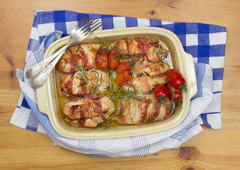 chicken baked with bacon