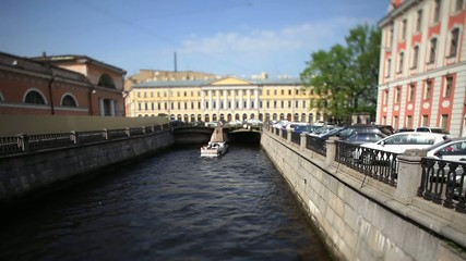 travel on canals of St. Petersburg time Lapse Film Tilt