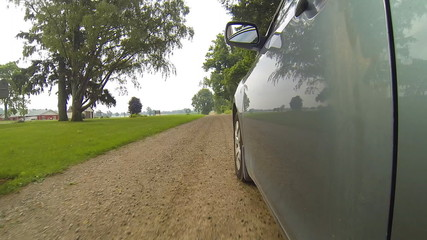 A POV drive down a quiet country road