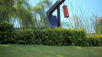 Row of orange Japanese lantern on blue sky, palms