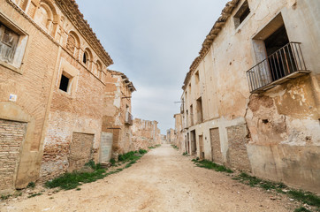 Main Street in the abandoned town of Belchite. Saragossa, Spain.