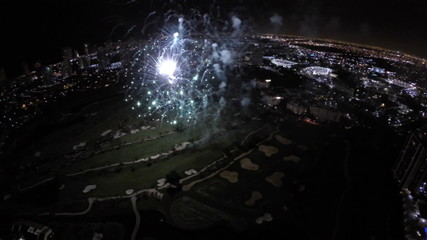4th of July aerial drone video fireworks