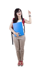Full length of female student getting idea
