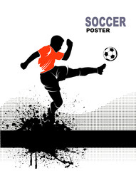 silhouette of soccer player on grunge background