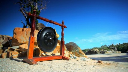 Big ancient drum used in royal ceremony at the beach Koh Samui