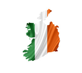 Map of Ireland with waving flag isolated on white