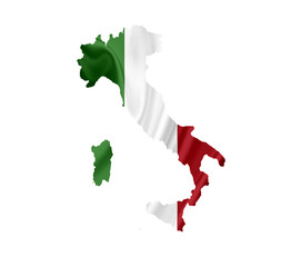 Map of Italy with waving flag isolated on white