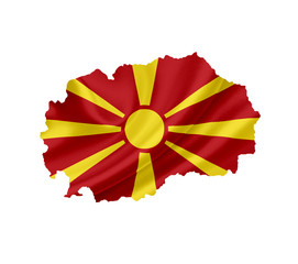 Map of Macedonia with waving flag isolated on white